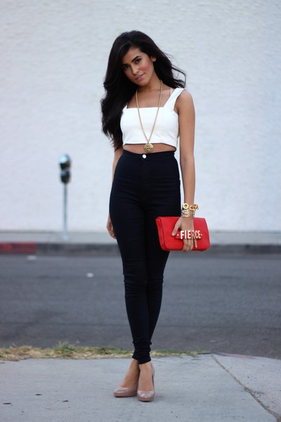 white Luna B top - black high-waisted Luna B pants