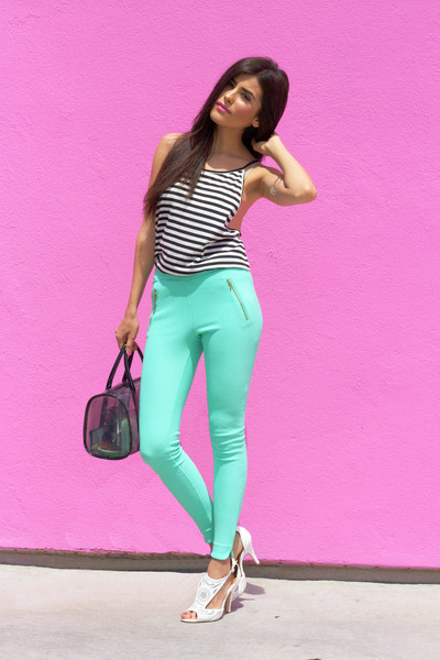black asos bag - aquamarine gold zipper Forever21 leggings
