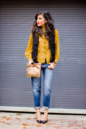 mustard polka dots Society of Chic blouse - navy boyfriend jeans Gap jeans