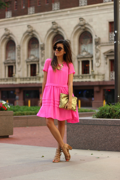Capwell necklace - bubble gum French Connection dress