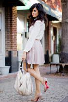 beige pleated Love skirt - off white button down Luna B shirt