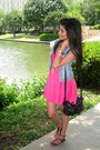 Hot-pink-summer-dress-h-m-dress-light-blue-denim-vest-h-m-vest