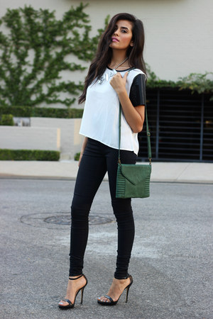green messenger bag amy kathryn bag - black strappy heels Zara shoes