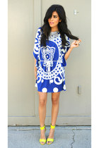 blue cobalt Norka dress - lime green neon H&M heels