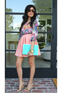 Floral-nordstrom-rack-shirt-aquamarine-clutch-luna-boutique-bag