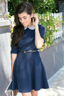 Navy-love-dress-silver-envelope-clutch-h-m-bag