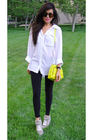 black H&amp;M leggings - white button down Bella Dahl shirt