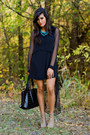 Tan-beige-booties-forever21-boots-black-sheer-sleeves-luna-boutique-dress