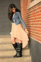 high low skirt Forever21 skirt - high boots Steve Madden boots