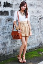 camel thrifted shorts - eggshell bench shirt - camel studded Manels heels