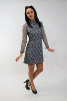 Vintage 70's Young Edwardian Mini Dress Gray Lace Victorian Long Sleeves Small S