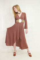Vintage 70s Disco Dress Deep V Full Skirt Space Age Brown Long Sleeves Medium M
