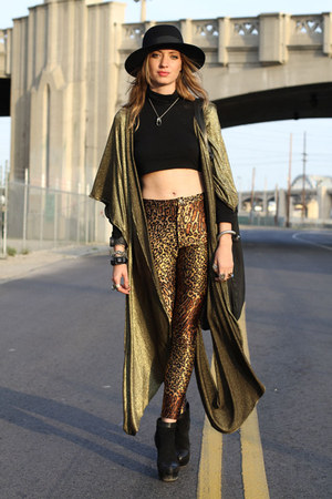 brown gold poncho AGAIN vest - black AGAIN shirt - brown vintage pants