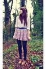 White-worn-as-shirt-zara-dress-pink-a-wear-skirt-tan-brogues-new-look-flats