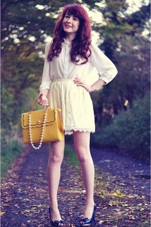 lace Topshop skirt - crochet collar Forever 21 blouse - River Island heels