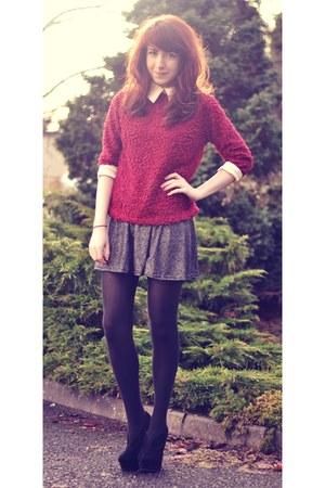 ruby red collar OASAP jumper - silver sparkle asos skirt