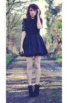 black Jones  Jones dress - black suede Primark wedges