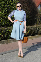 tawny camera bag Zalando collection bag - turquoise blue pleated DIY dress