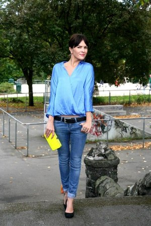 sky blue Zara blouse