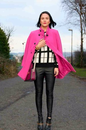 black H&M leggings - hot pink vintage coat