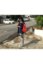 carrot orange bag - heather gray leggings - navy cotton on hoodie
