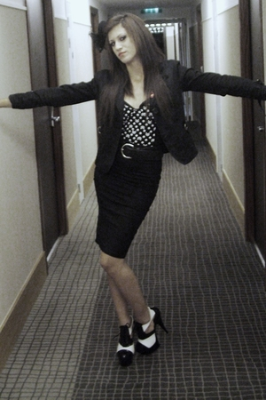 black jacket - black BLACK ROSE skirt - black&white highheels shoes