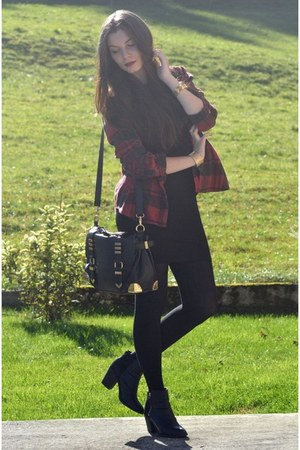 black H&M boots - black H&M dress - crimson BDG shirt - black Aldo bag