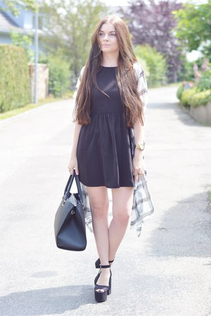 black H&M bag - black c&a dress - white H&M cardigan - black H&M heels