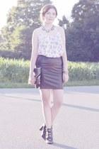 black new look bag - white Forever 21 dress - black new look skirt