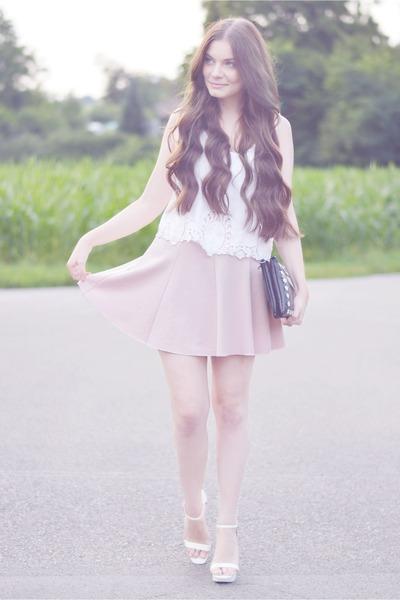 white H&M shirt - bubble gum skirt - white Zara heels
