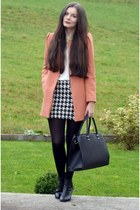 light orange Zara coat - black H&M boots - black H&M bag - white Zara skirt