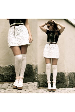 white GINA TRICOT skirt - pink DIY shorts - gray junkfood t-shirt