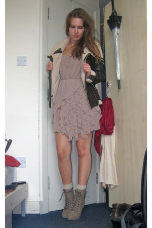 pink H&amp;M dress - brown lindex jacket - beige Primark shoes