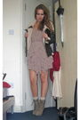 Pink-h-m-dress-brown-lindex-jacket-beige-primark-shoes