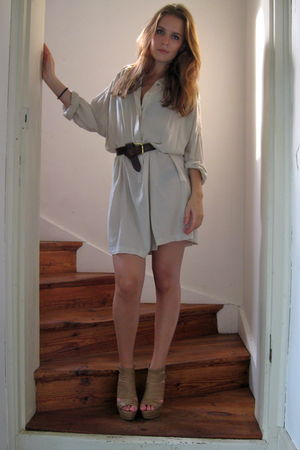silver Zara dress - beige Nelly shoes - brown Mulberry belt