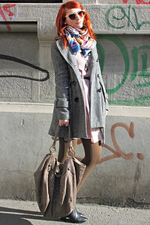 black H&M boots - light pink Vero Moda dress - peach H&M scarf
