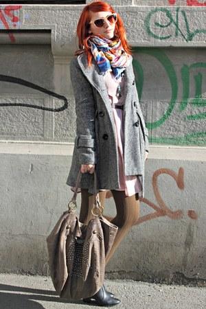 black H&M boots - light pink Vero Moda dress - peach H&M scarf