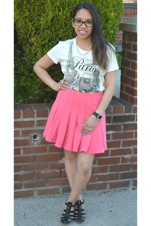 white Paris t-shirt - bubble gum H&M skirt - black Daffys Store sandals