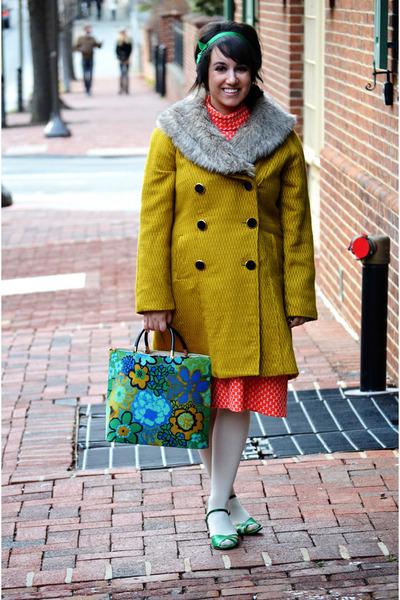 lime green Chartreuse coat - green vintage shoes - red orange-red vintage dress