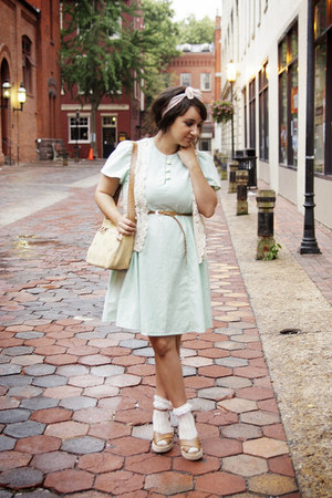 camel ankle strap thrifted wedges - aquamarine flutter sleeve Vintage