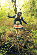 navy lace collar modcloth cardigan - green lace up Poetic License shoes