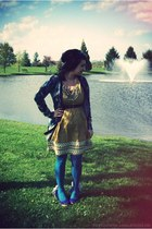 mustard embroidered modcloth dress - teal teal tights We Love Colors tights - na