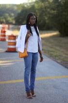 light blue 7 for all mankind jeans - white Zara blazer