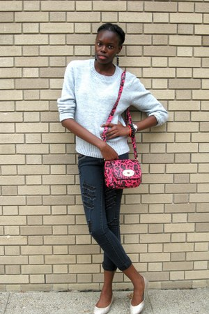 hot pink leopard print Mulberry for Target bag - black destressed unknown jeans