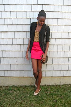 black Wet Seal cardigan - mustard polka dot Old Navy top - hot pink H&amp;M skirt