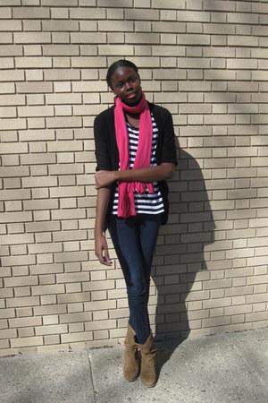 hot pink Old Navy scarf - white H&M t-shirt - black Wet Seal cardigan