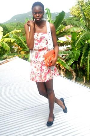 floral print H&M dress - Fossil bag - fringe H&M vest