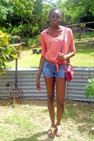 hot pink leopard print Mulberry for Target bag - blue denim shorts Rave shorts -