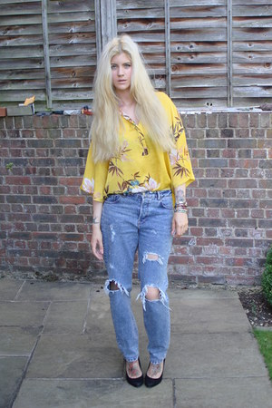 Zara blouse - asos jeans - Matalan heels - various bangles bangles bracelet