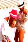 Fedora-hat-juicy-couture-swimwear-romeo-juliet-top-honesty-bracelet